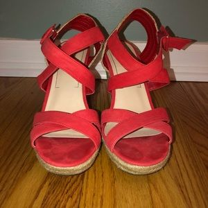 Red women's wedges